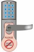 Door lock with information — Stock Vector