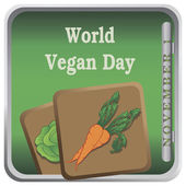 Button World Vegan Day — Stockvector