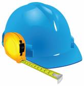 Construction helmet and measuring tape — Stock Vector