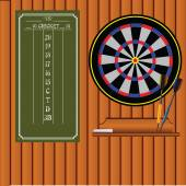 Set of darts with an information stand — Stok Vektör
