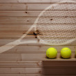 Three tennis balls and imprint racket — Stock Photo #60496143