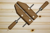 Clamp for fixing wooden blanks — Stock Photo