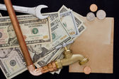 Payment and repair water supply — Stock Photo