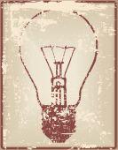Vintage card with light bulb — Stock Vector