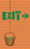 Exit sign and a bucket of paint — Vector de stock