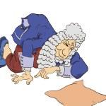 Gentleman kneeling reading — ストックベクタ #64117537