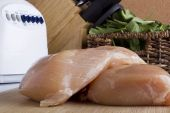 Sliced chicken white meat — Stock Photo
