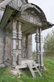 Porch ancient wooden church — Stock fotografie