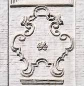 Cartouche on the wall of ancient Russian church in Totma — Stock Photo