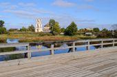 Old wooden bridge in North Russia — Stock Photo