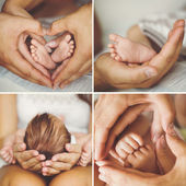 Collage of the newborn. — Stock Photo