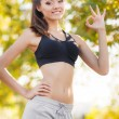 The beautiful girl after fitness classes. — Stock Photo #57381267