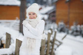 Beautiful girl on a background of a winter landscape. — Foto Stock