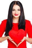 Portrait of Beautiful woman with bright makeup and red heart in hand — Stock Photo