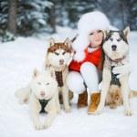 Portrait of a beautiful woman with Siberian huskies - Husky. — Stock Photo #61976087