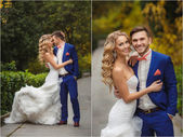 Wedding collage - the bride and groom in the Park in the summer. — Stock Photo