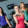 Young sports women perform a set of exercises with dumbbells. — Stock Photo #67166551