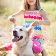 Portrait of a Girl with her beautiful dog outdoors. — Stock fotografie #84462306