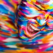 Portrait of the bright beautiful girl with art colorful make-up and bodyart — Stock Photo #74261173