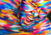 Portrait of the bright beautiful girl with art colorful make-up and bodyart — Stock Photo