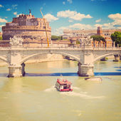 Ponte Vittorio Emanuele II and Castel SantAngelo — Stock Photo