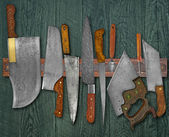 Vintage knives on the rack — Foto de Stock