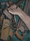 Vintage woodworking tools on wooden bench — Stock Photo