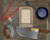Vintage kitchen knife and utensils collage — Stock Photo