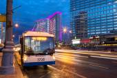 Trolleybus on New Arbat Street in evening. Moscow. Russia — Stock Photo