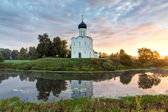 Church of Intercession of Holy Virgin on the Nerl River at dawn. — Stock Photo