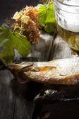 Mug of beer and dried fish — Stockfoto