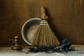 Still life with vintage tools for cleaning — Stock Photo