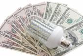 Led light and dollars — Стоковое фото