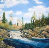 Oil painting on canvas. Waterfall — Stock Photo