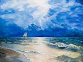 Oil painting on canvas. Drawing of boat is under sail — Stockfoto