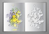 Vector papieren sjabloon met gestanste vlinders — Stockvector