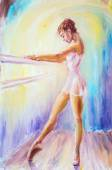 Beautiful young ballerina. Oil painting. — Stock Photo