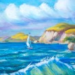 Sailing boat in the sea. Oil painting. — Stock Photo #55378461