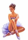 Beautiful sitting ballerina. Oil painting. — Stock Photo