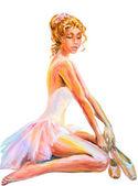 Beautiful sitting ballerina. Oil painting. — Fotografia Stock