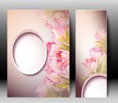 Modèle carte de printemps fleurs invitation — Vecteur
