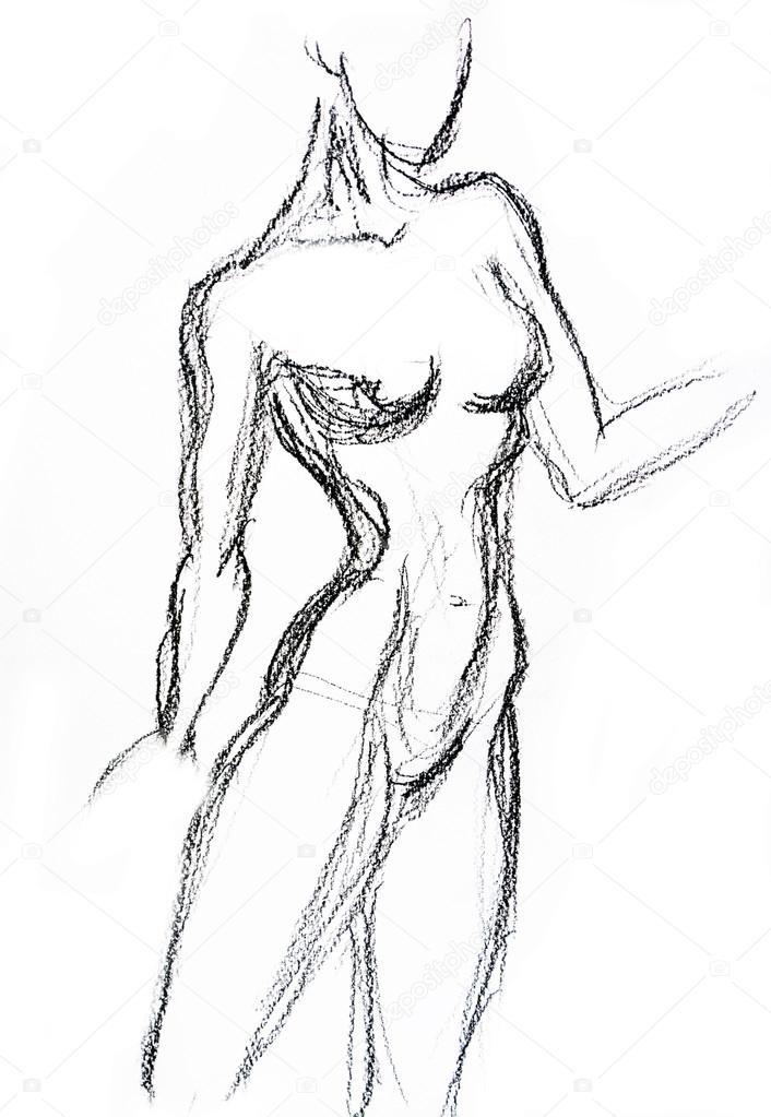 torso de mujer dibujo foto de stock valenty 72237741