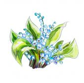 Lilies of the valley. Watercolor painting. — Stock Photo