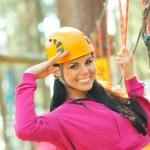 Girl having fun in adventure park — Stock Photo #55398669