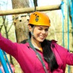 Girl having fun in adventure park — Stock Photo #55398683