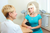 Woman patient at gynecology office — Stock Photo
