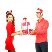 Man gives a lot gifts for girl — ストック写真