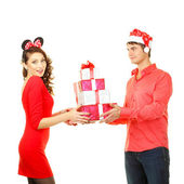Man gives a lot gifts for girl — Foto de Stock