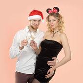 Couple celebrate Christmas — Stock Photo