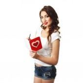 Kobieta z karty na Walentynki — Zdjęcie stockowe